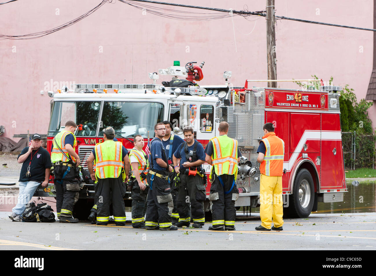 Members of the local Volunteer Fire Department, ready to assist with any emergencies, in the aftermath of Hurricane - Stock Image