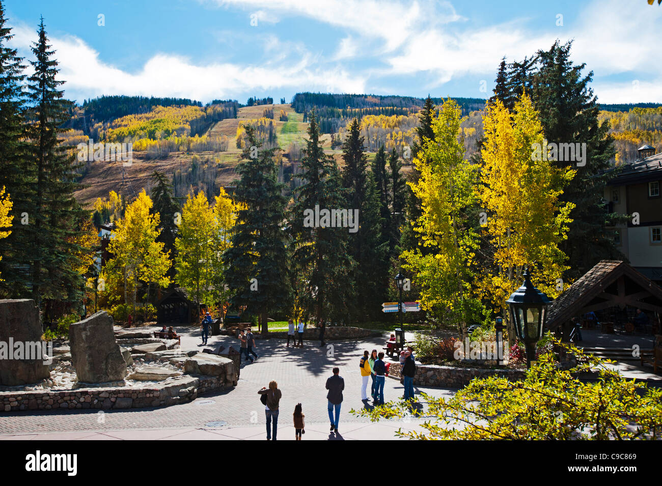 Vail Colorado in the Fall just before Ski Season with ski trails / slopes in background - Stock Image