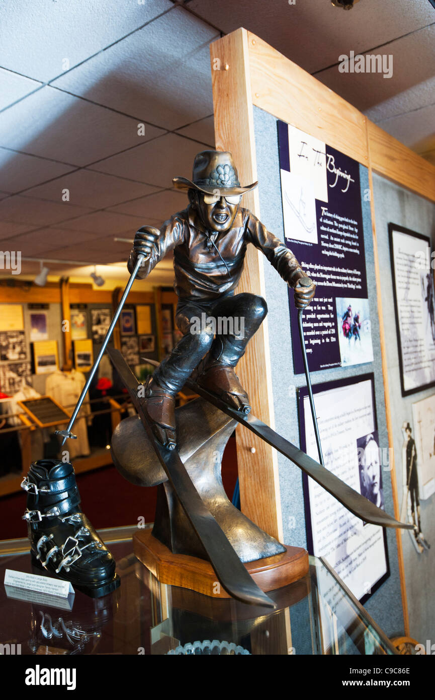 A sculpture of a skier inside of the Colorado Ski Museum in Vail Colorado. - Stock Image