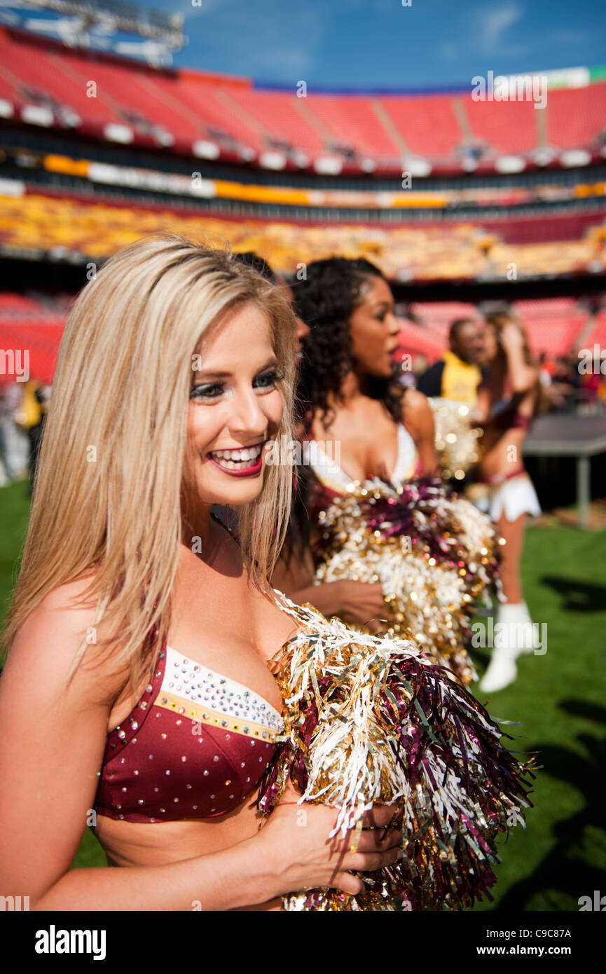 The Washington Redskin NFL football team cheerleaders, 'The Redskinettes' at FedEx Field in Landover Maryland. - Stock Image