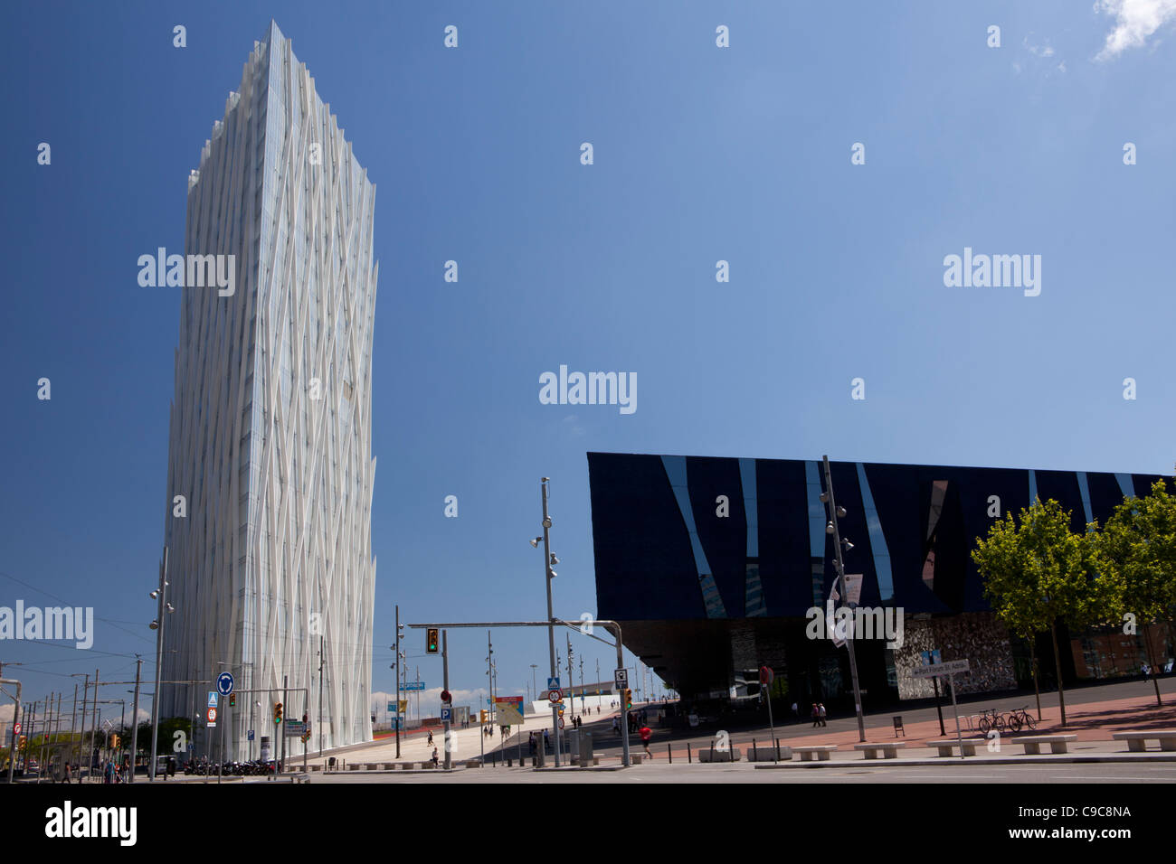 Museum of Natural Sciences of Barcelona in Fòrum building and Telefonica building, Barcelona, Spain - Stock Image