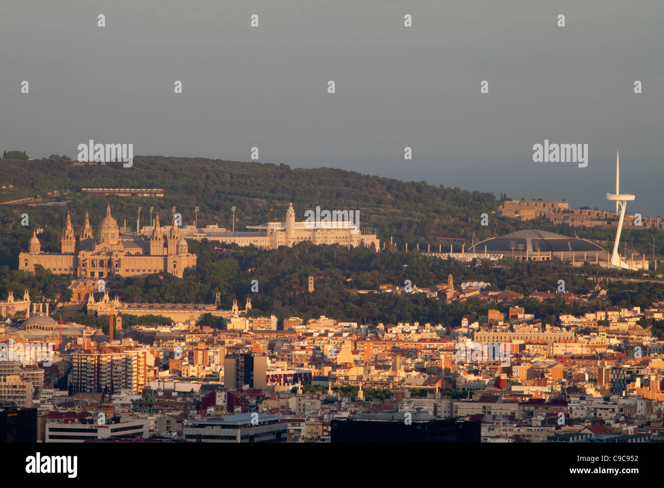 View of Montjuic, Barcelona, Spain - Stock Image