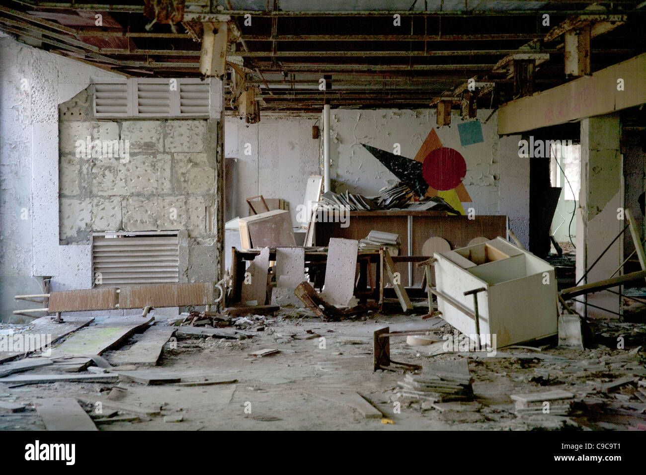 Vandalised and looted classroom in the Pripyat Middle School Sportivnaya Street, Pripyat Chernobyl exclusion zone - Stock Image