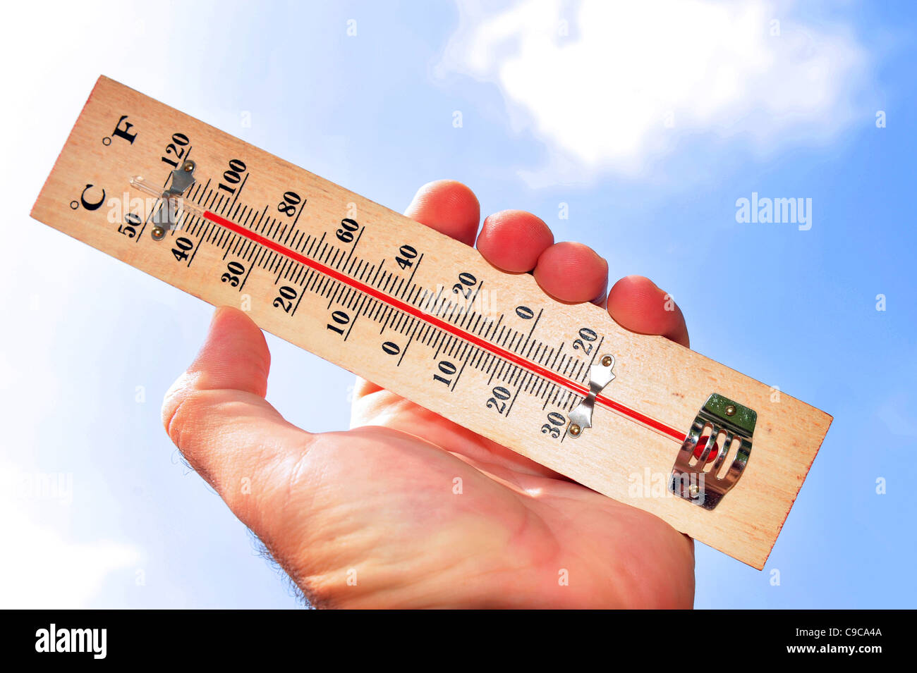 A hand and temperature scale shows 41 degrees celsius during a heat wave - Stock Image