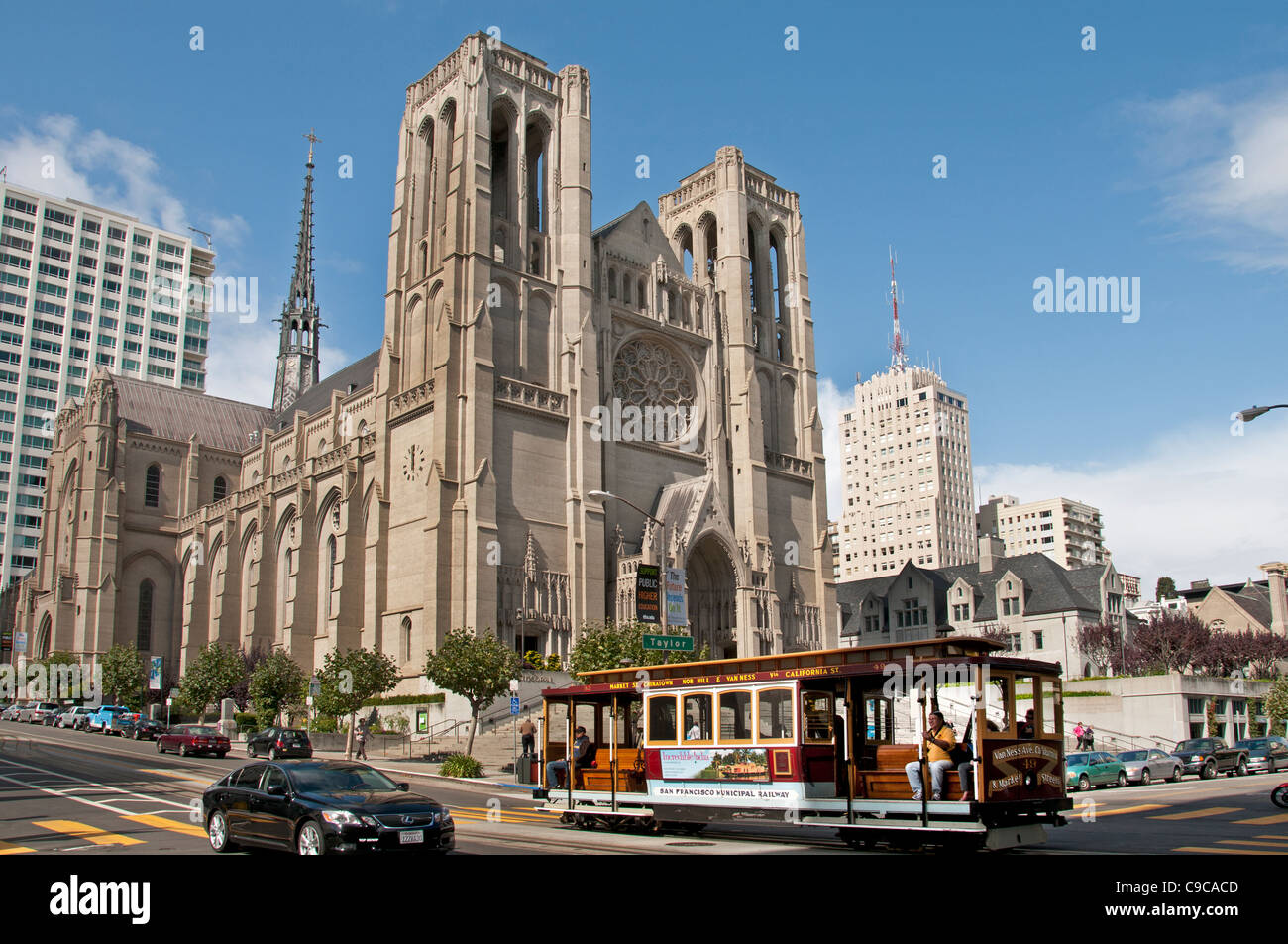 Grace Cathedral San Francisco  California United States of America American USA Town City Stock Photo