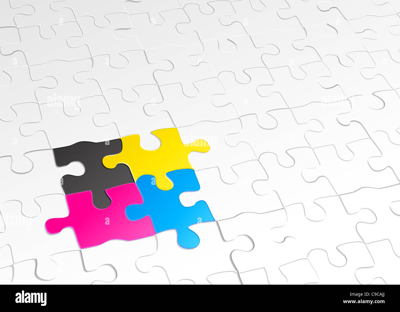 illustration of abstract background made of jigsaw puzzle templates ...