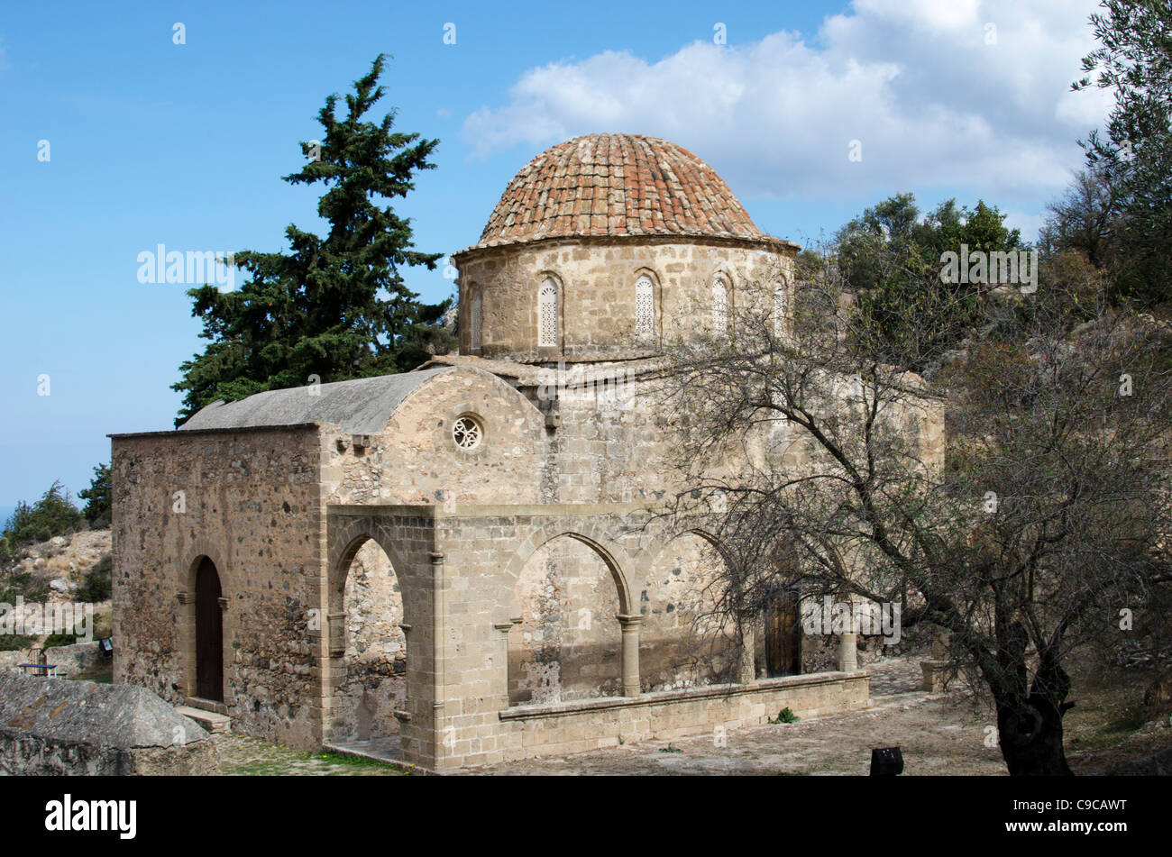 The Greek Orthodox monastic church of Antiphonitis in North Cyprus - Stock Image