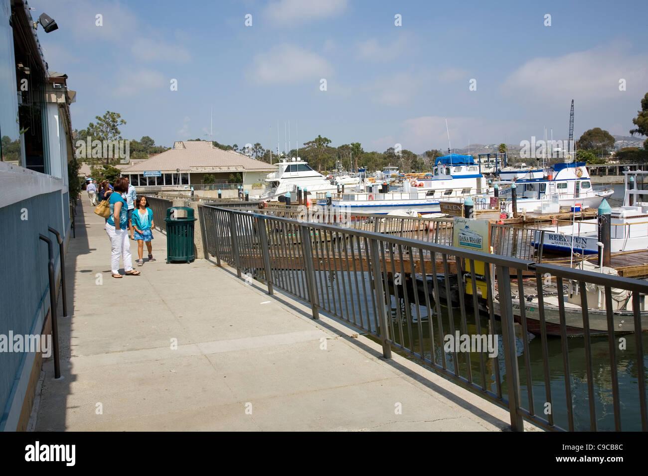Dana Point harbor Wharf - California - Stock Image