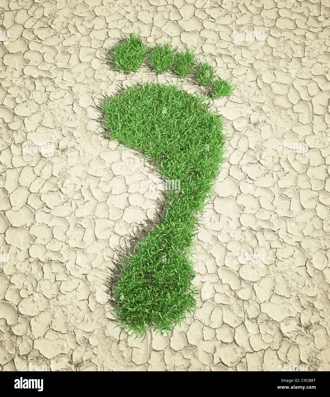 Ecological footprint concept illustration - grass patch footprint - Stock Image