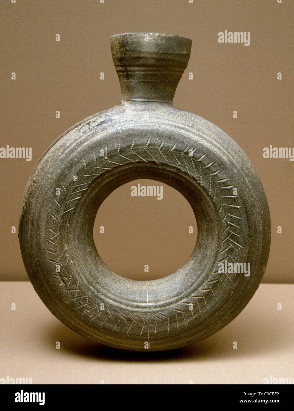 Ring Shaped bottle Japan Kofun Period 300 552  Hiroshima region Stoneware - Stock Image