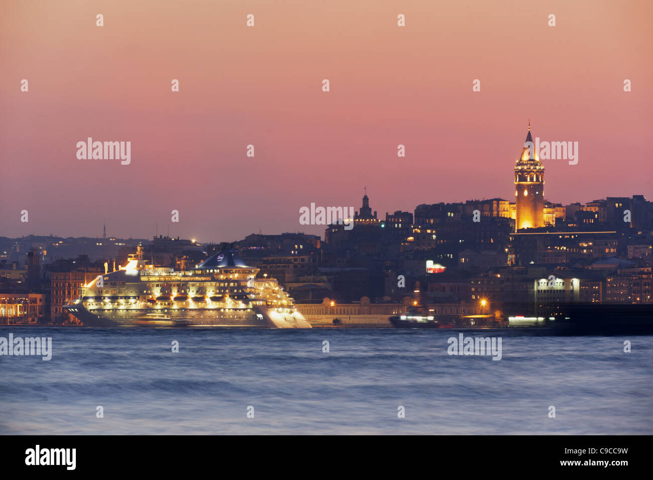 Ferry ,Galata tower, Beyoglu, Istanbul, Turkey , Europe, - Stock Image