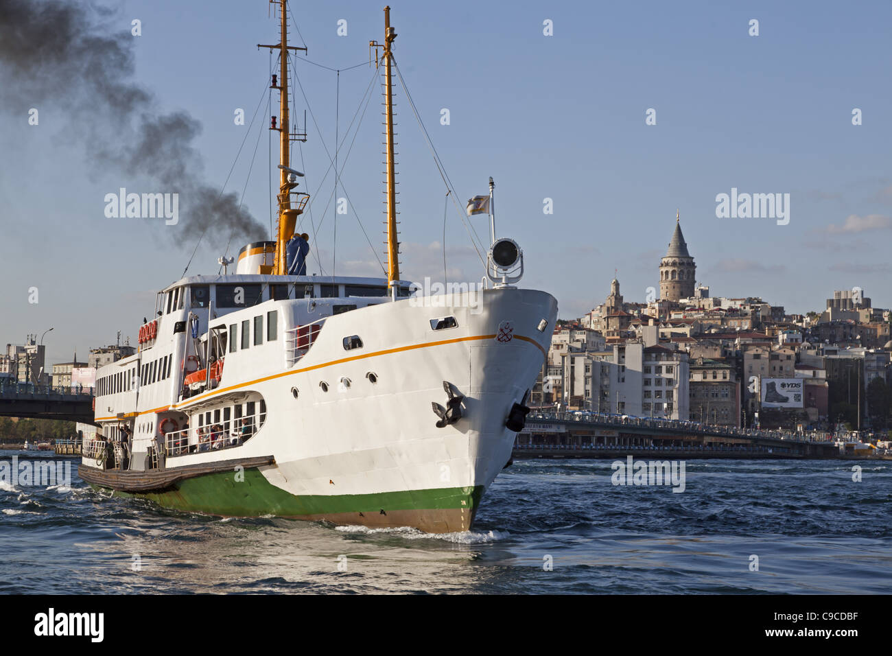 Ferry Golden Horn, Galata tower, Beyoglu,Istanbul, Turkey , Europe, - Stock Image
