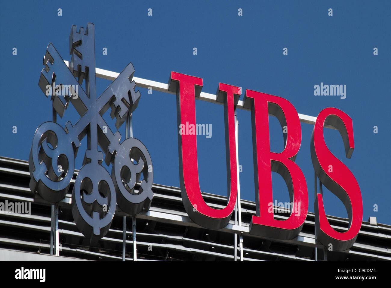 UBS bank Logo at Central , Zurich, Switzerland, - Stock Image