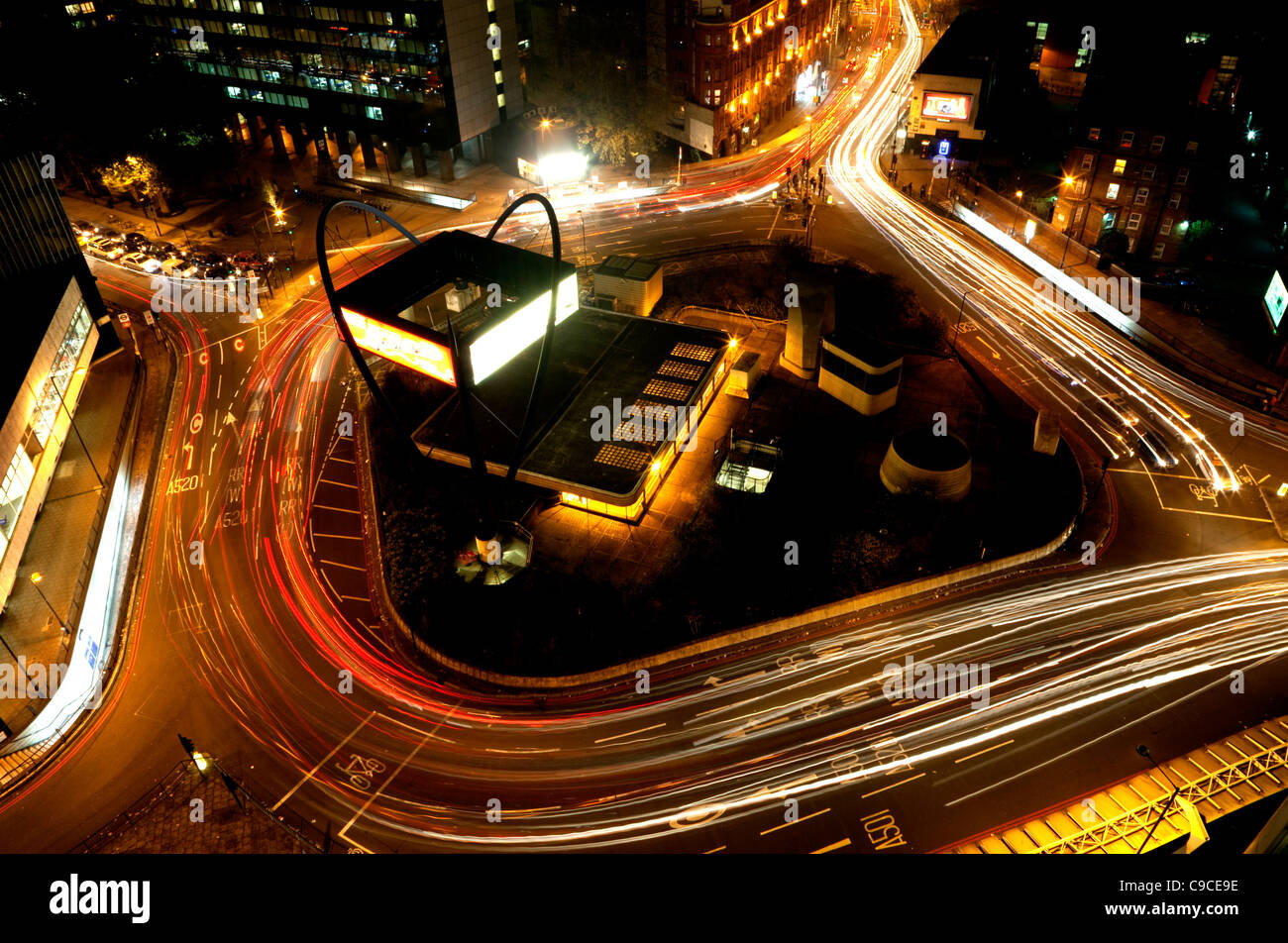 Old Street roundabout (The Silicon Roundabout), London during evening rush hour photographed from Bezier apartments - Stock Image