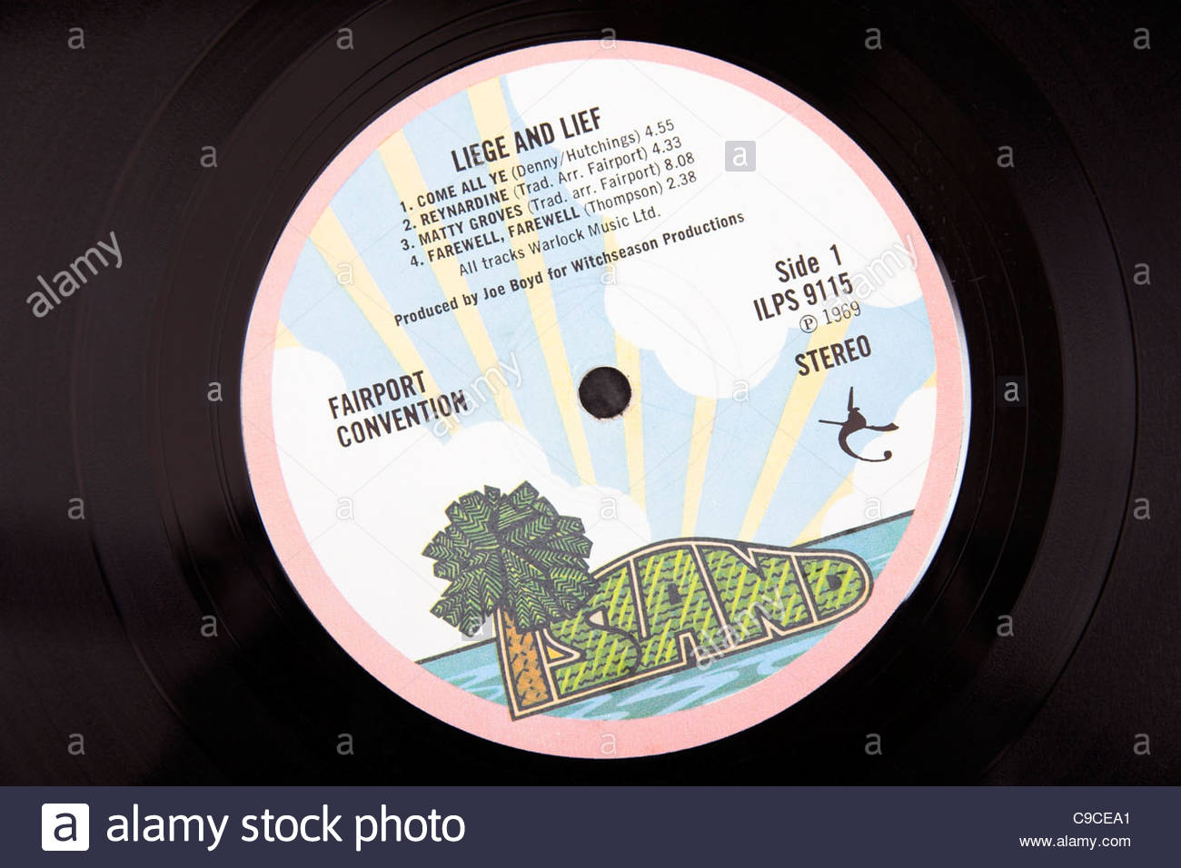 An early copy of Fairport Convention's 1969 Liege And Lief album, on the Island records label. - Stock Image