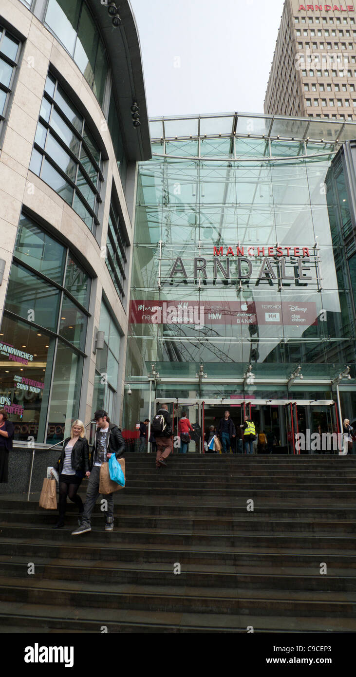 Exterior entrance of the Arndale Shopping Centre urban Manchester England UK KATHY DEWITT - Stock Image