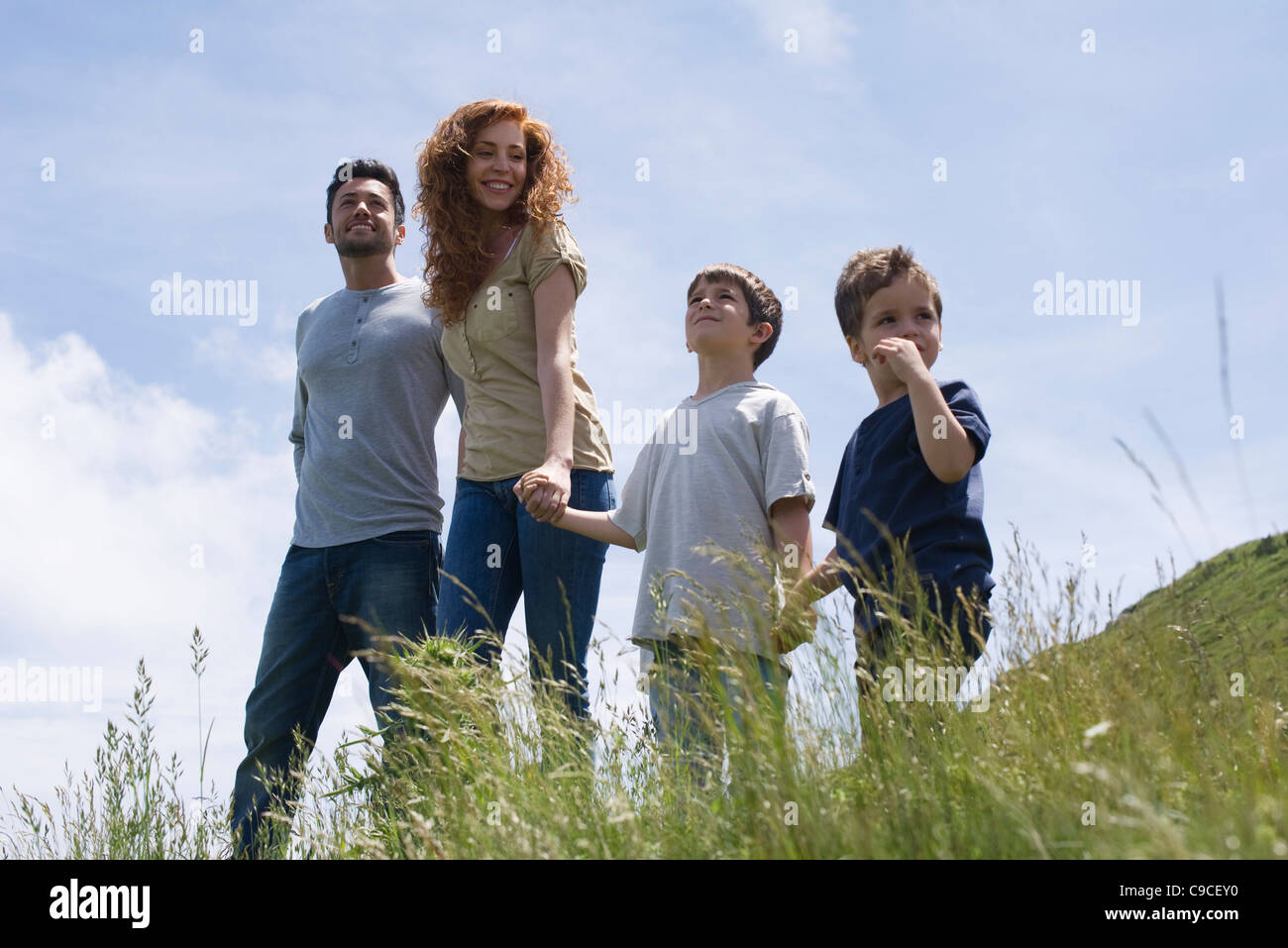 Parents and two boys standing on meadow holding hands - Stock Image