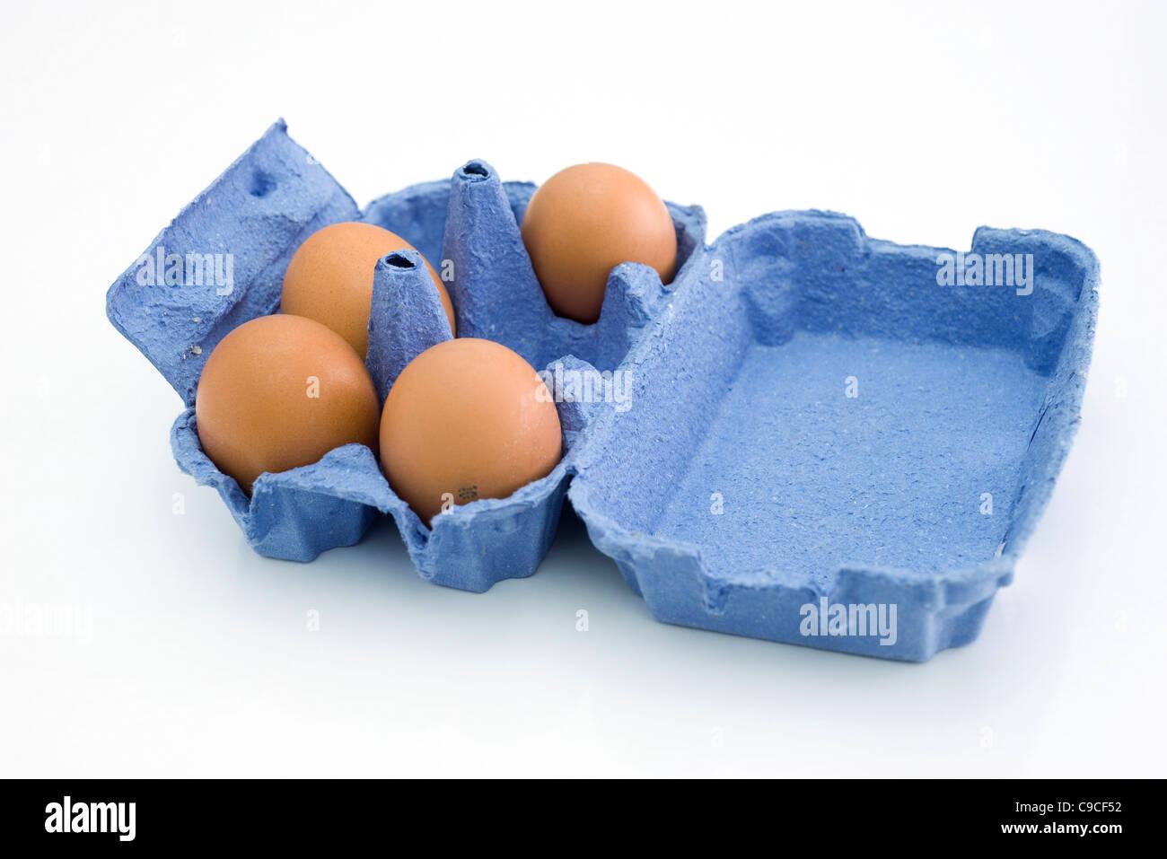 Fresh eggs in carton - Stock Image