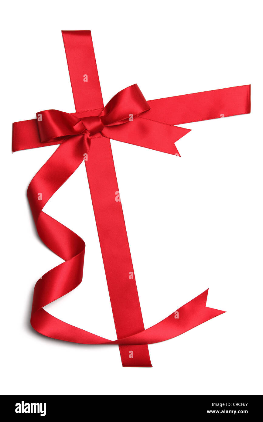 Red ribbon with bow isolated on white - Stock Image