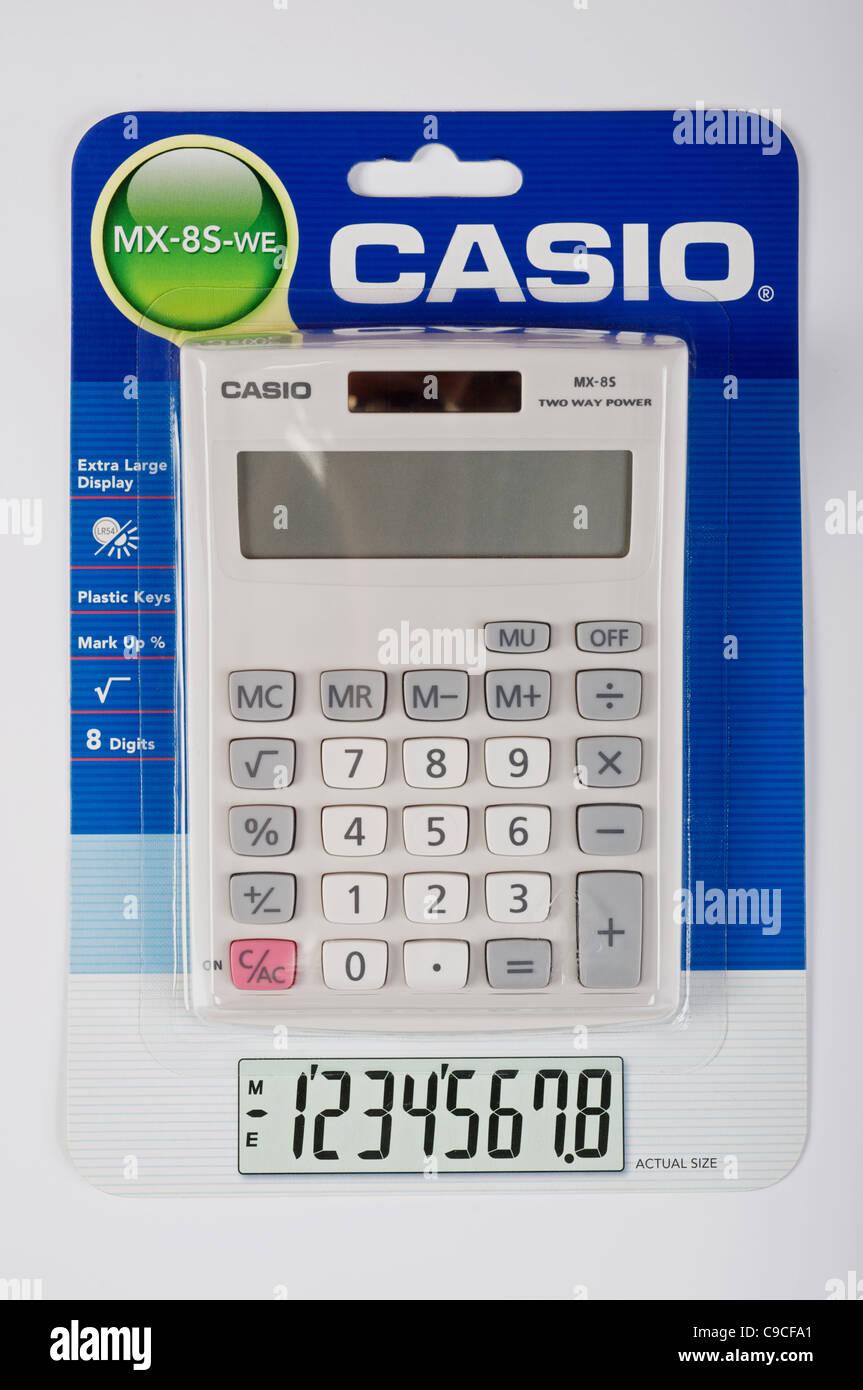 Casio MX-8S-WE solar powered calculator - Stock Image