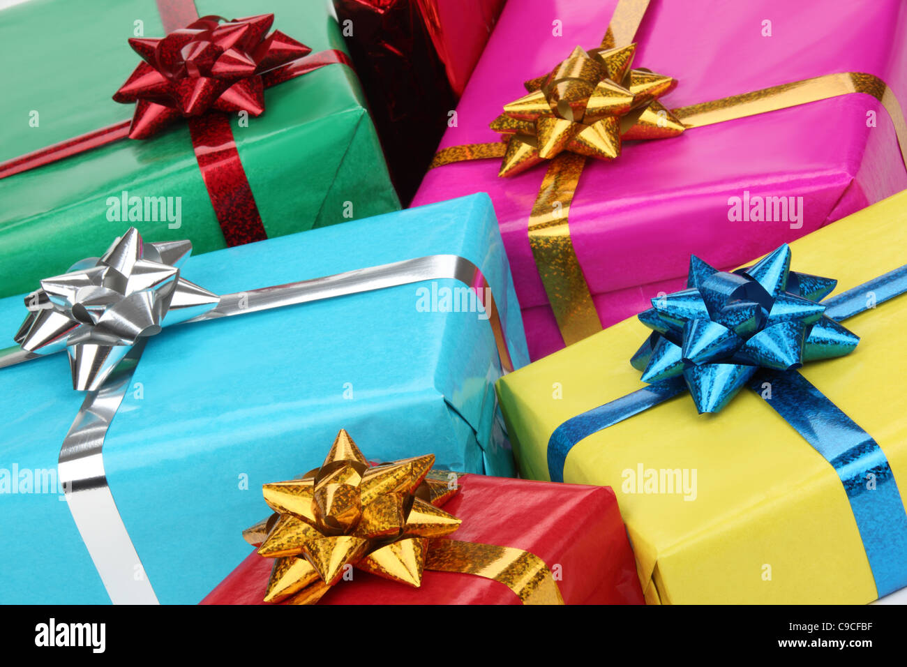 Closeup of colorful gifts boxes. - Stock Image