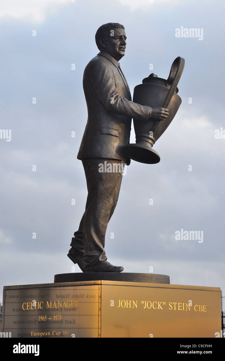 This is the statue of the late John (Jock) Stein manager of Celtic football Club in the mid sixties and first in - Stock Image
