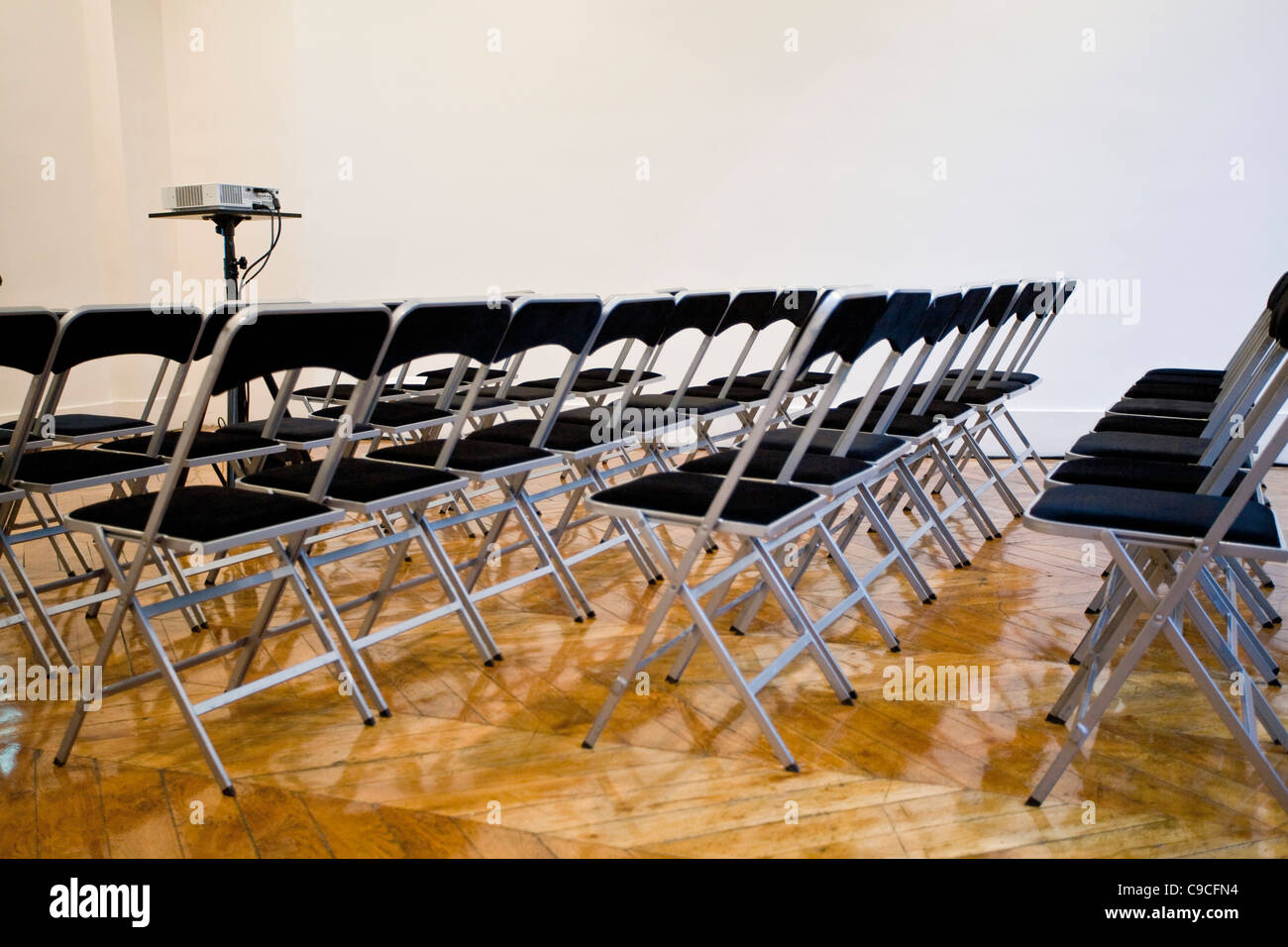 folding chairs lined up in conference room stock photo 40228416 alamy