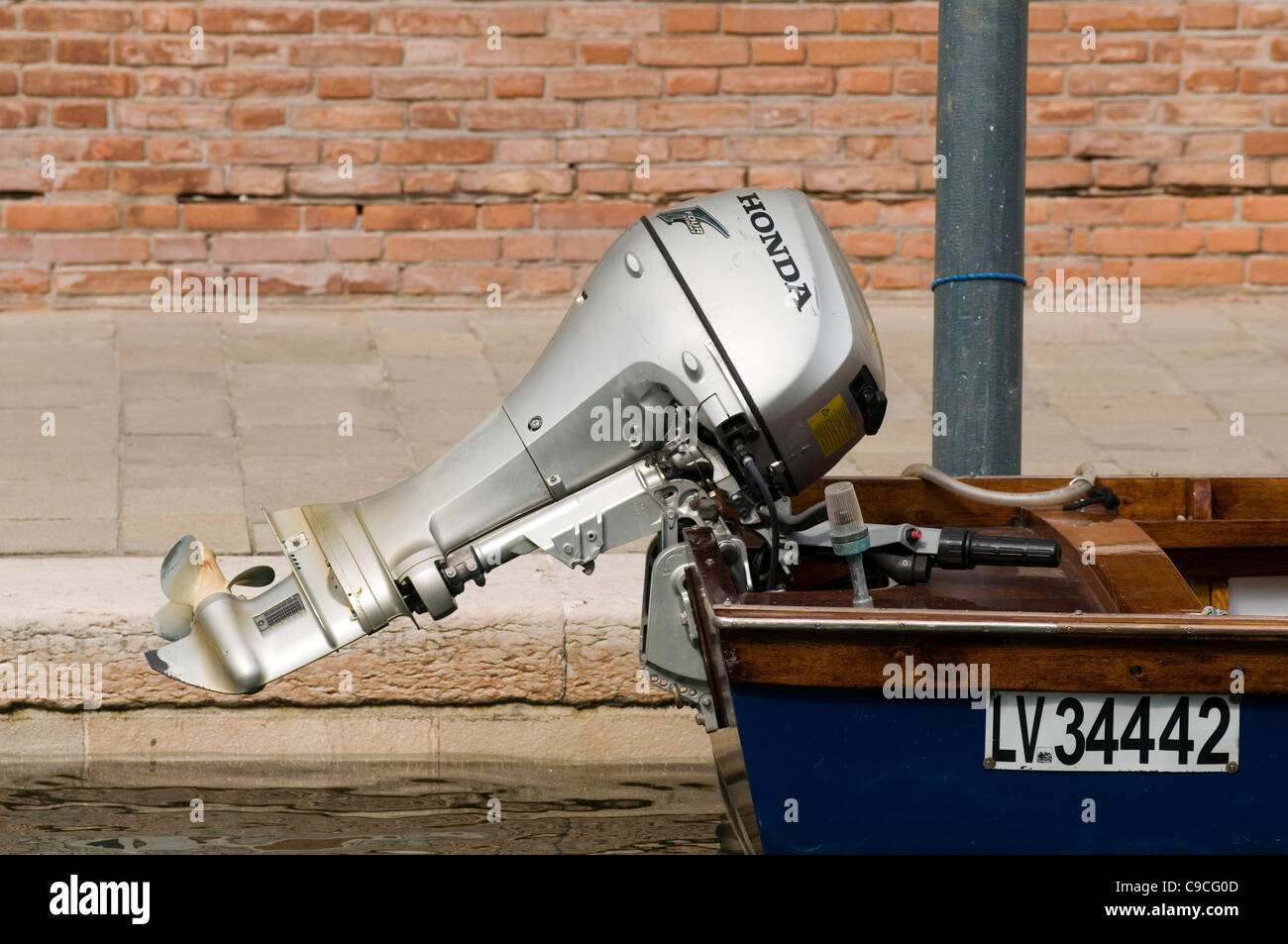 outboard motor engine honda boat engines motors propeller - Stock Image