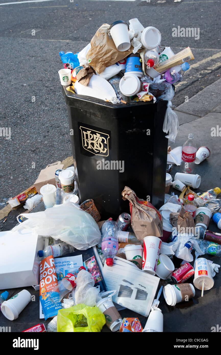 Overflowing bin, London, UK - Stock Image
