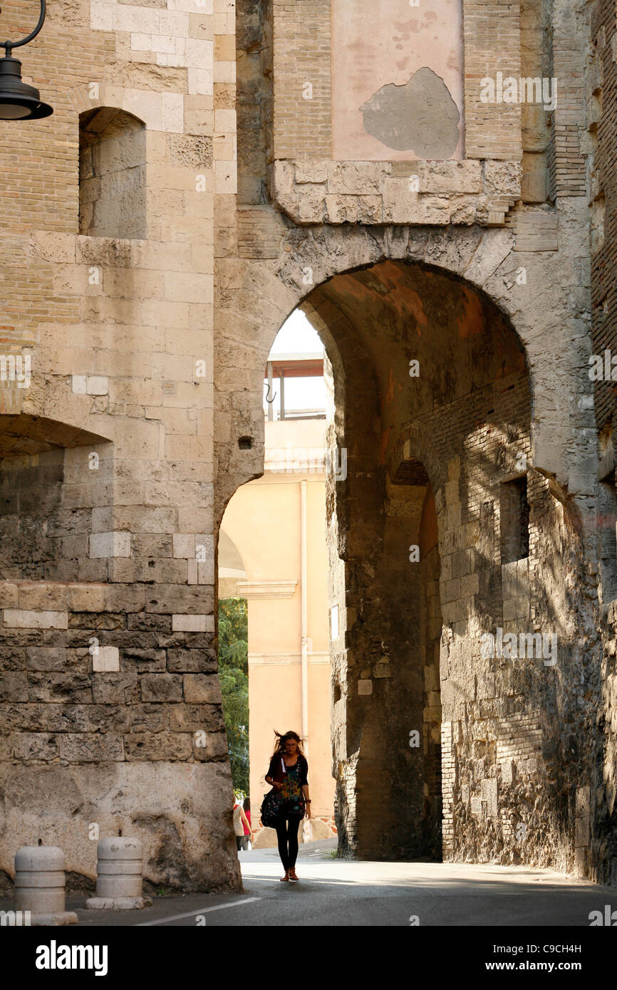 Gate in the Castello, Cagliari, Sardinia, Italy. - Stock Image