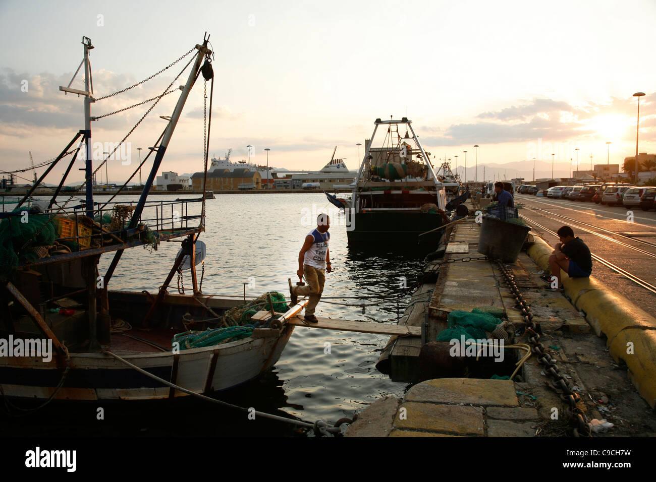 fishermen at the port, Cagliari, Sardinia, Italy. - Stock Image