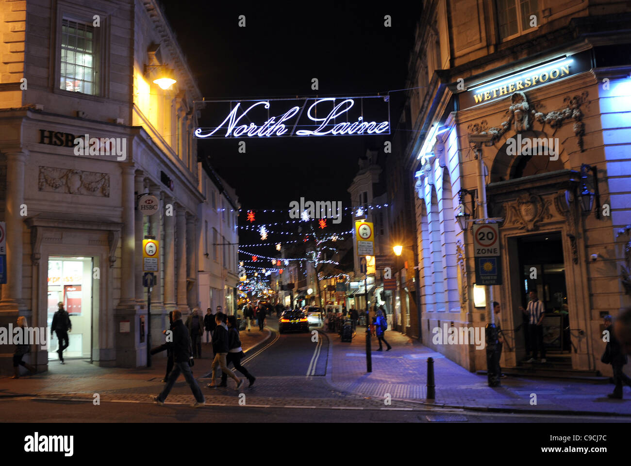 Christmas lights in the North Laine shopping district of Brighton ...