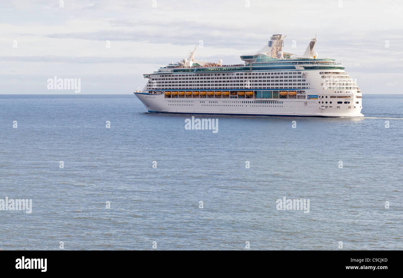 Royal Caribbean International cruiseship Adventure of the Seas leaving Funchal harbour - Funchal, Madeira, Portugal, - Stock Image