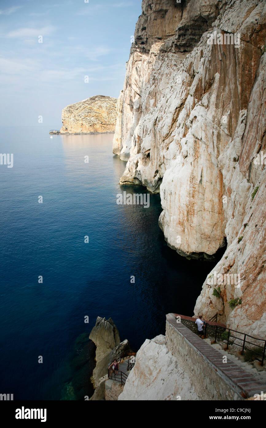 View over the escala del Cabirol, the staircase that leads to the Grotta di Nettuno, Capo Caccia, Alghero, Sardinia, - Stock Image