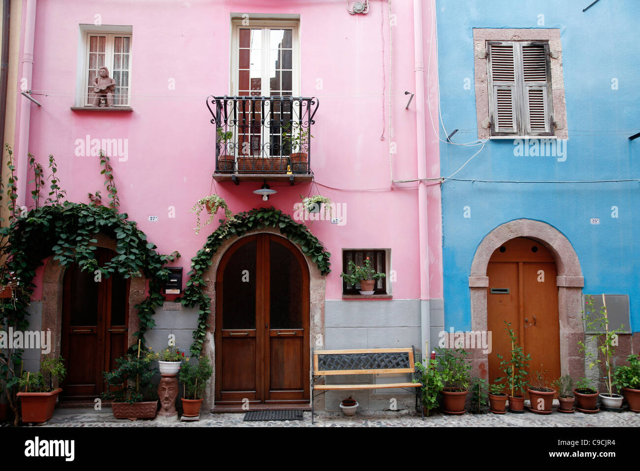 Detail of houses in the old city center, Bosa, Sardinia, Italy. - Stock Image