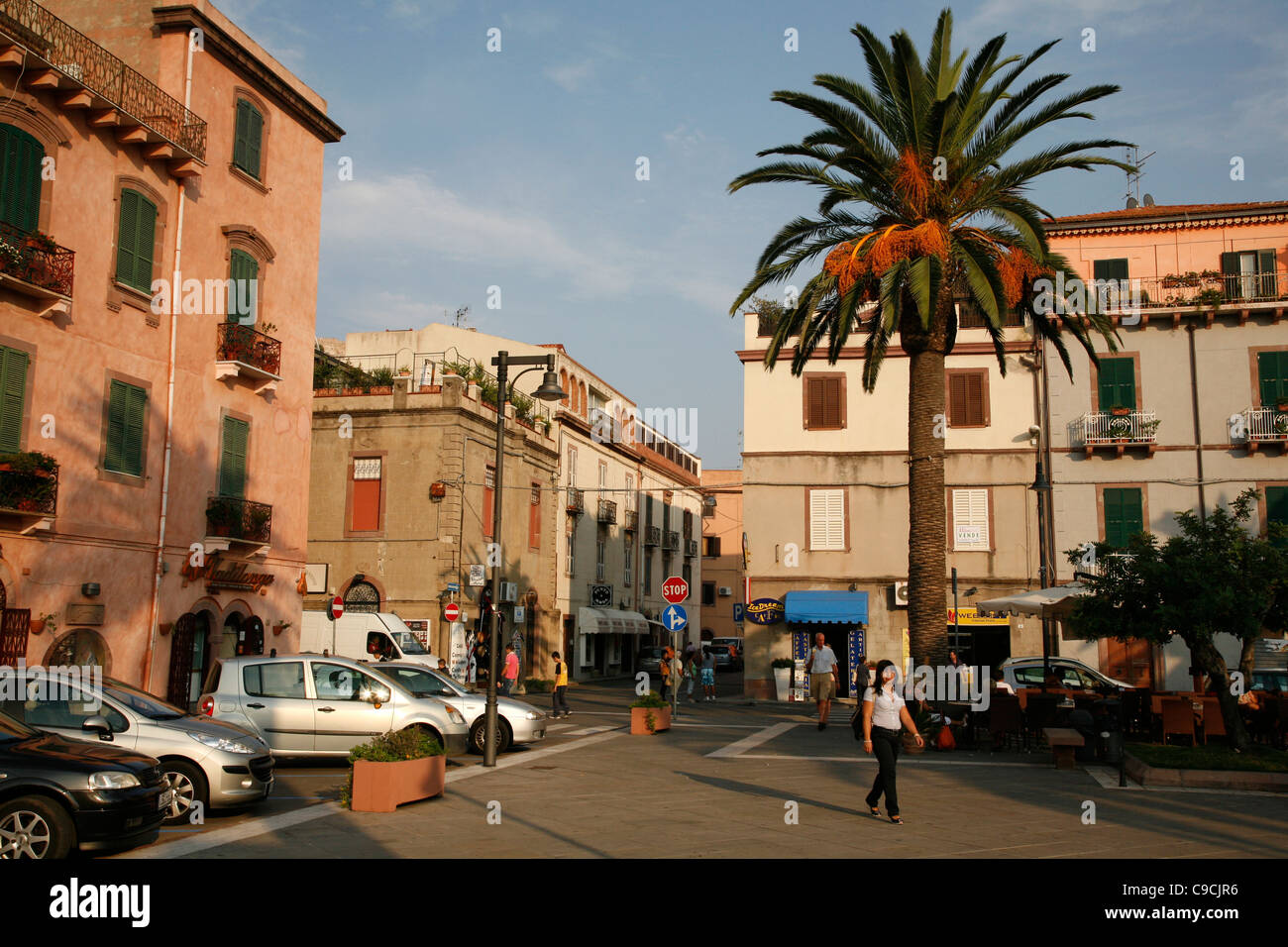 Piazza IV Novembre, the main square in Bosa, Sardinia, Italy. - Stock Image