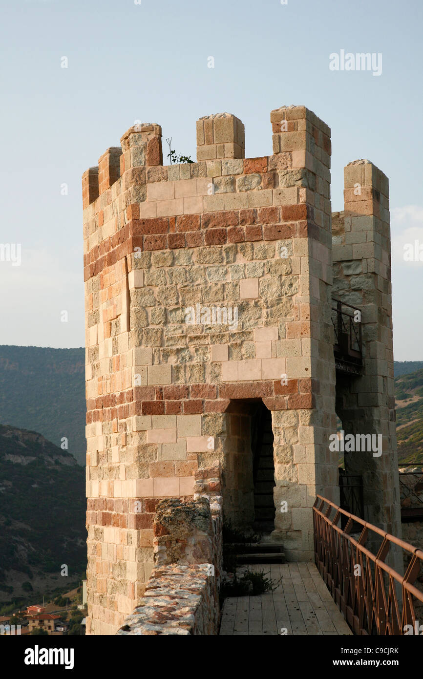 Watch Tower at the Malaspina castle, Bosa, Sardinia, Italy. - Stock Image