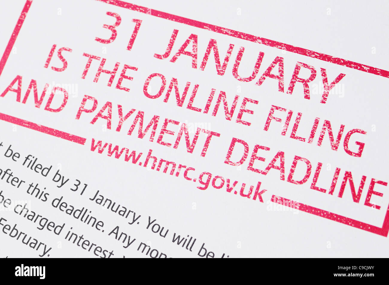 Tax Deadline Notice, Issued by HM Revenue and Customs, UK. - Stock Image