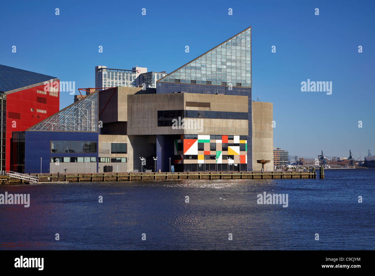Looking east across the Inner Harbor to the National Aquarium in Baltimore, Maryland. - Stock Image