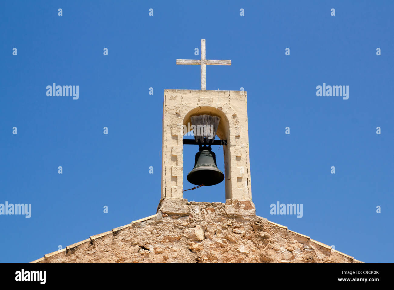 Sant Ferran church stone belfry detail in Formentera island of Spain - Stock Image