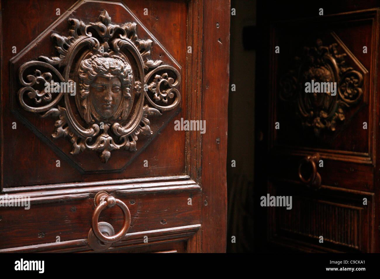Door detail, Castello, Cagliari, Sardinia, Italy. - Stock Image