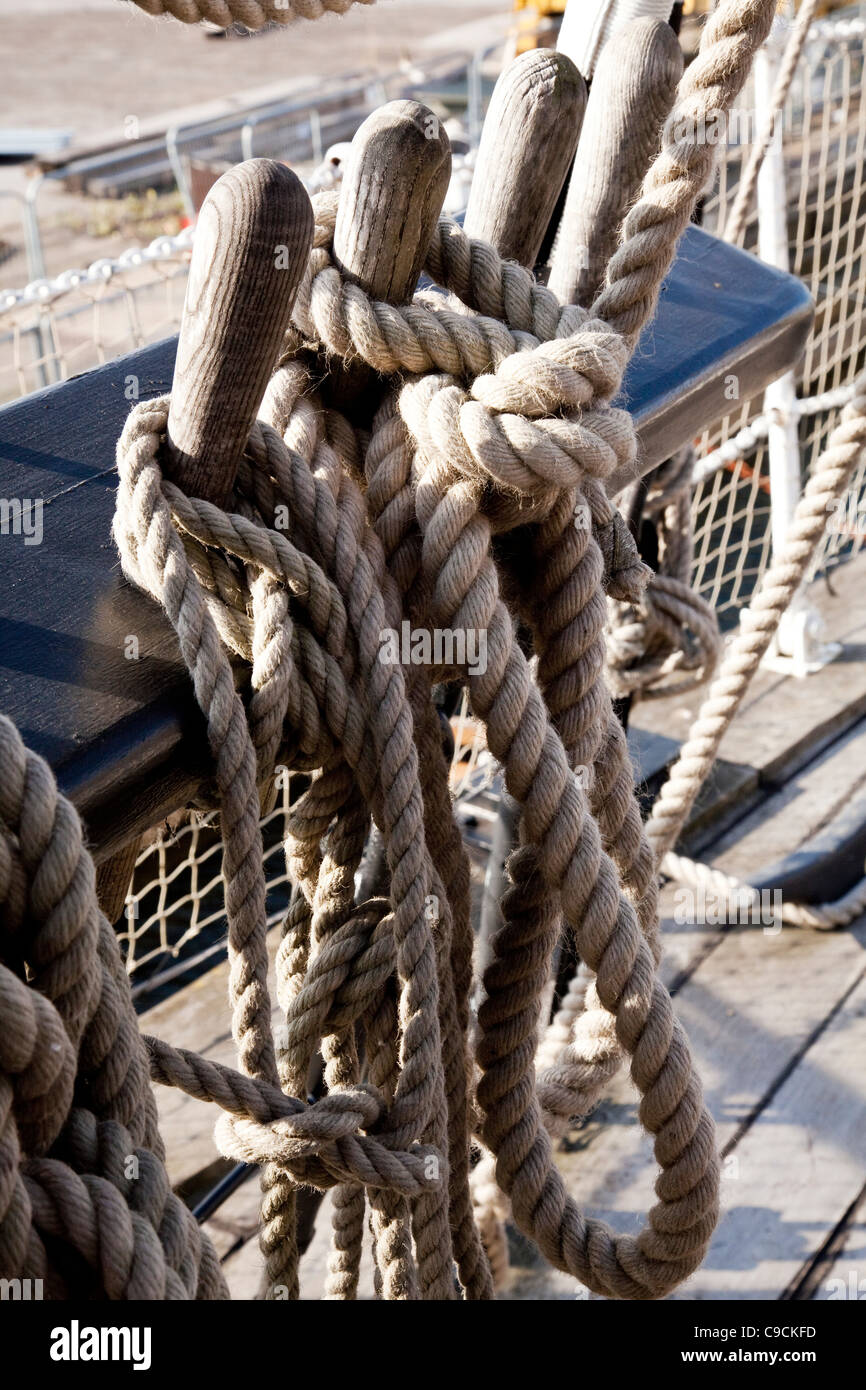 HM Gannet rope rigging and tackles at The Historic Dockyard Chatham - Stock Image