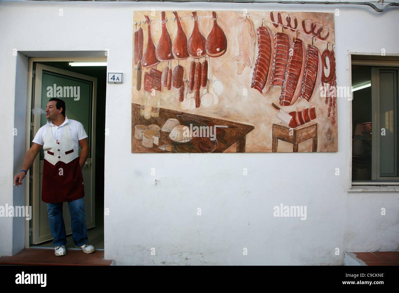 Butcher shop, San Pantaleo village, Sardinia, Italy. - Stock Image