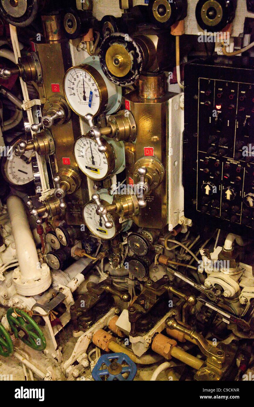 Inside HM Ocelot at The Historic Dockyard Chatham - Stock Image