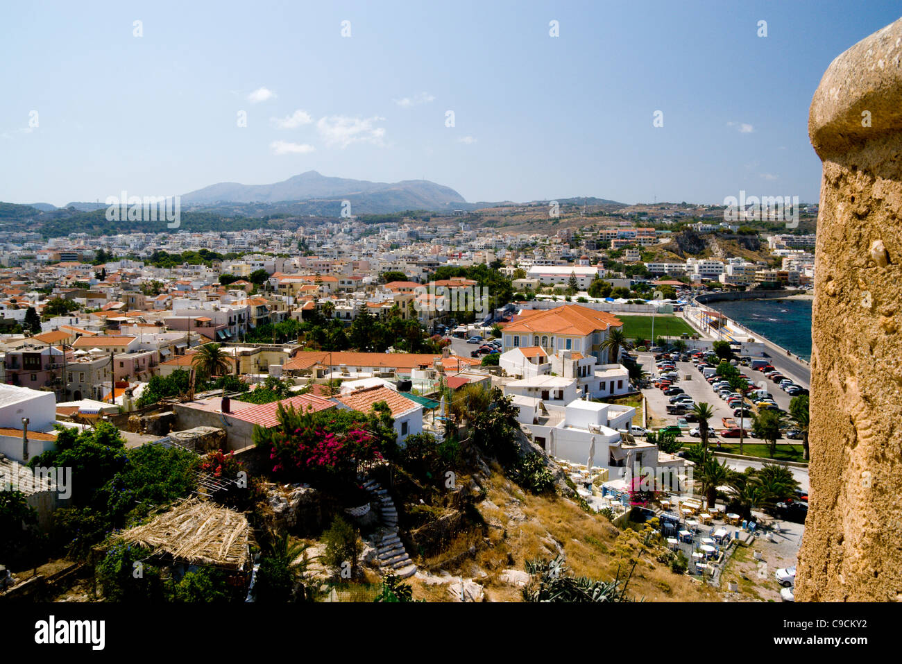 rethmnon town from the forteza, crete, greece. - Stock Image