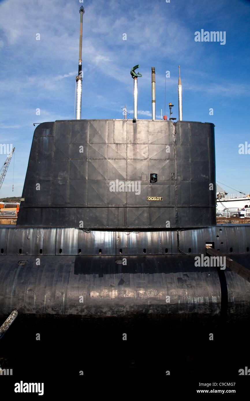 Submarine HM Ocelot at The Historic Dockyard Chatham - Stock Image