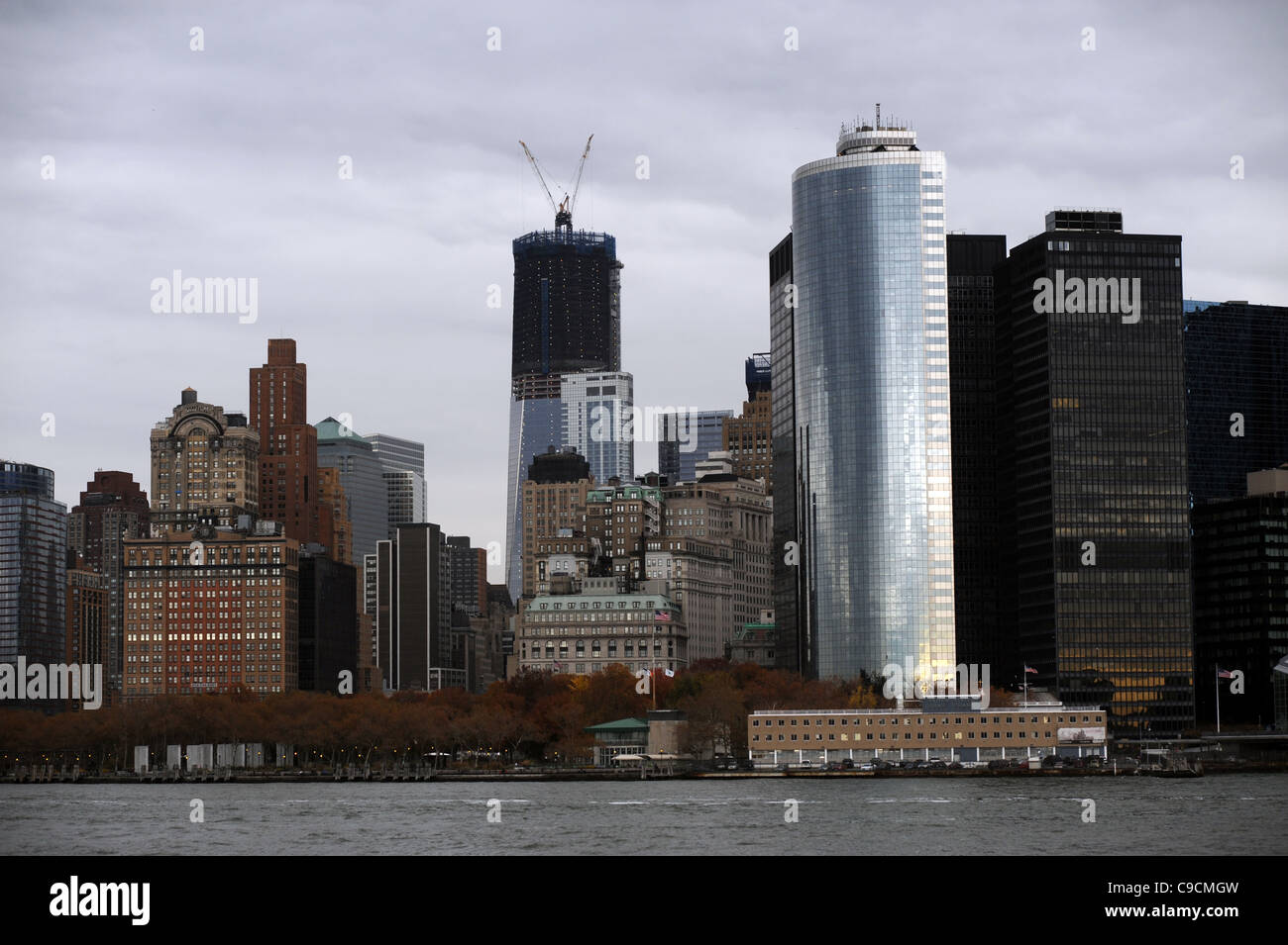 Battery Park and financial district of South Manhattan New York NYC USA America - Stock Image