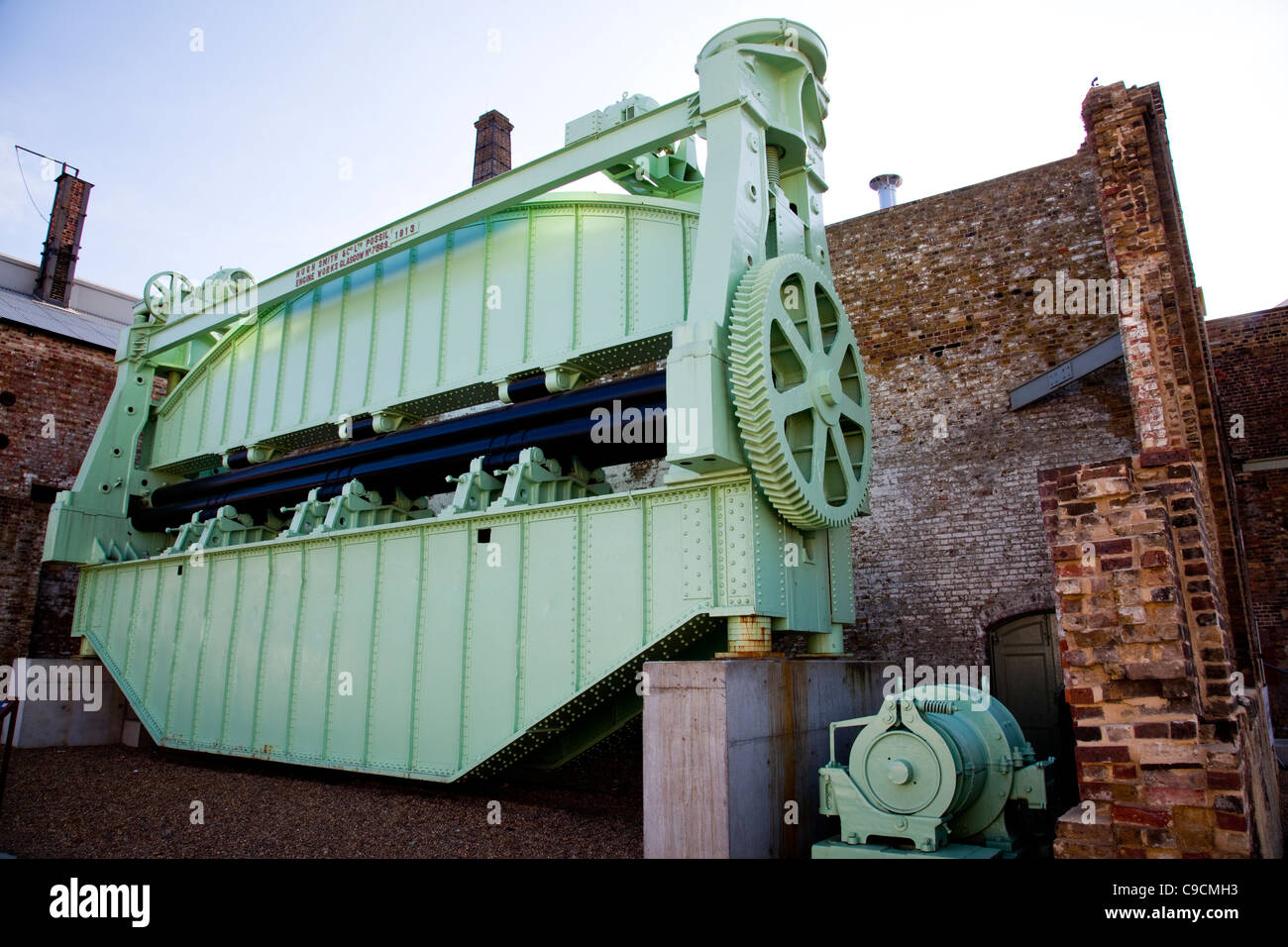 Gigantic plate bending roller at The Historic Dockyard Chatham - Stock Image