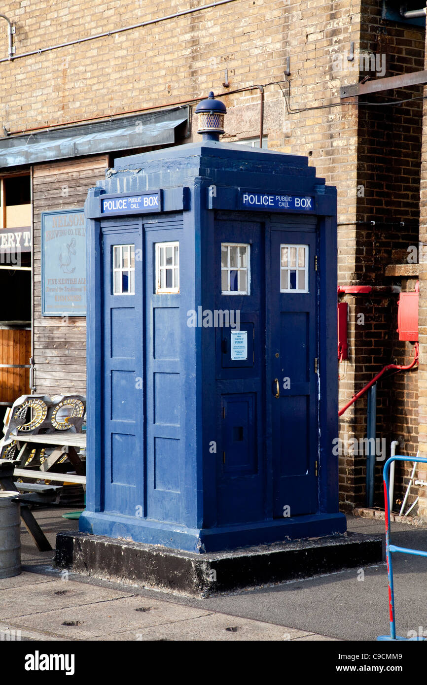 Doctor Who Police box at The Historic Dockyard Chatham - Stock Image
