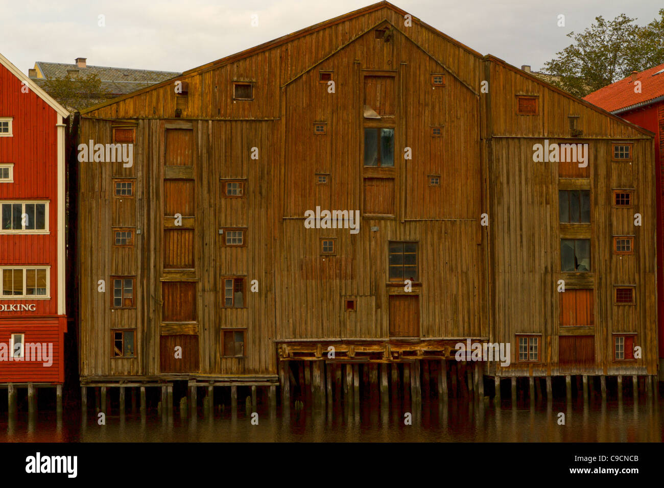 Renovated warehouses on Kjopmannsgata Trondheim Stock Photo